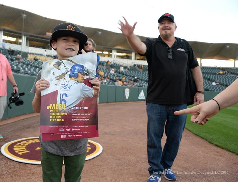 Los Angeles Dodgers Andre Ethier honored by Arizona State University February 19, 2016 at Phoenix Municipal Stadium in Phoenix, Arizona