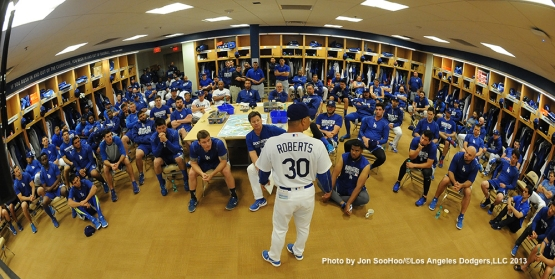Los Angeles Dodgers manager Dave Roberts speaks to the team during first full squad meeting Thursday, February 25, 2016 at Camelback Ranch-Glendale in Phoenix, Arizona.
