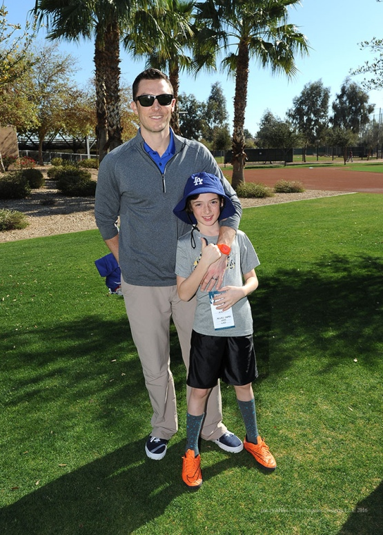 Los Angeles Dodgers Professional Scout Coordinator poses with son during pitchers and catchers workout Sunday, February 21, 2016 at Camelback Ranch-Glendale in Phoenix, Arizona. Photo by Jon SooHoo/©Los Angeles Dodgers,LLC 2016