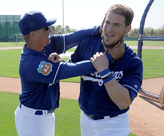 Los Angeles Dodgers Dave Roberts with Yasmani Grandal during pitchers and catchers workout Sunday, February 21, 2016 at Camelback Ranch-Glendale in Phoenix, Arizona. Photo by Jon SooHoo/©Los Angeles Dodgers,LLC 2016