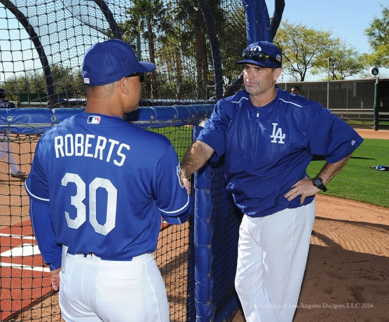 Los Angeles Dodgers Dave Roberts shakes hand of hitting coach Turner Ward during pitchers and catchers workout Sunday, February 21, 2016 at Camelback Ranch-Glendale in Phoenix, Arizona. Photo by Jon SooHoo/©Los Angeles Dodgers,LLC 2016