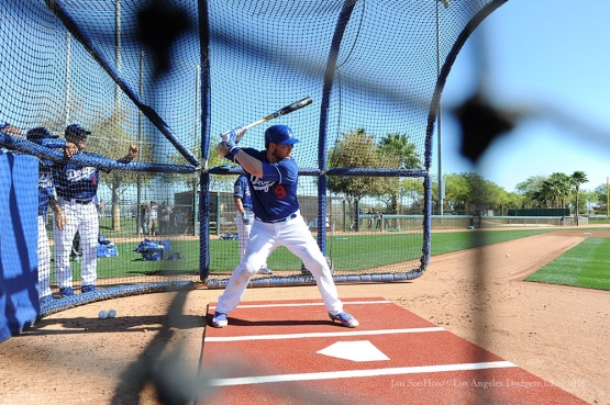 Los Angeles Dodgers Yasmani Grandal takes batting practice during pitchers and catchers workout Sunday, February 21, 2016 at Camelback Ranch-Glendale in Phoenix, Arizona. Photo by Jon SooHoo/©Los Angeles Dodgers,LLC 2016