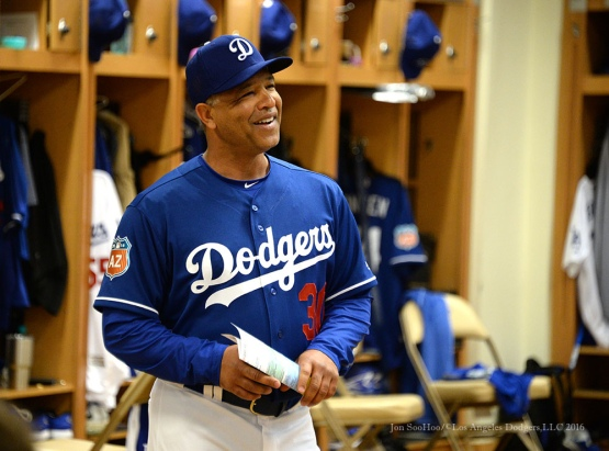 Los Angeles Dodgers Dave Roberts during meeting before pitchers and catchers workout Sunday, February 21, 2016 at Camelback Ranch-Glendale in Phoenix, Arizona. Photo by Jon SooHoo/©Los Angeles Dodgers,LLC 2016