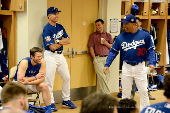 Los Angeles Dodgers Dave Roberts laughs it up during team meeting before pitchers and catchers workout Sunday, February 21, 2016 at Camelback Ranch-Glendale in Phoenix, Arizona. Photo by Jon SooHoo/©Los Angeles Dodgers,LLC 2016