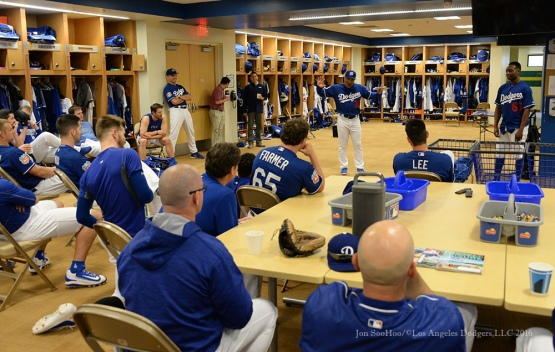 Los Angeles Dodgers Dave Roberts leads team meeting before pitchers and catchers workout Sunday, February 21, 2016 at Camelback Ranch-Glendale in Phoenix, Arizona. Photo by Jon SooHoo/©Los Angeles Dodgers,LLC 2016