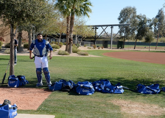 Los Angeles Dodgers catcher Shawn Zarrage gears up during pitchers and catchers workout Sunday, February 21, 2016 at Camelback Ranch-Glendale in Phoenix, Arizona. Photo by Jon SooHoo/©Los Angeles Dodgers,LLC 2016