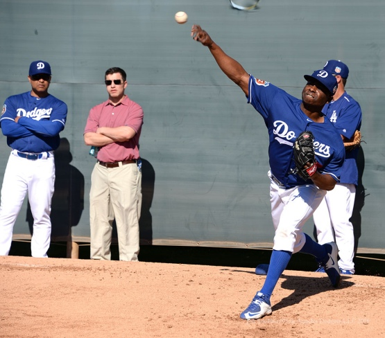 Los Angeles Dodgers Jharel Cotton pitches during pitchers and catchers workout Sunday, February 21, 2016 at Camelback Ranch-Glendale in Phoenix, Arizona. Photo by Jon SooHoo/©Los Angeles Dodgers,LLC 2016