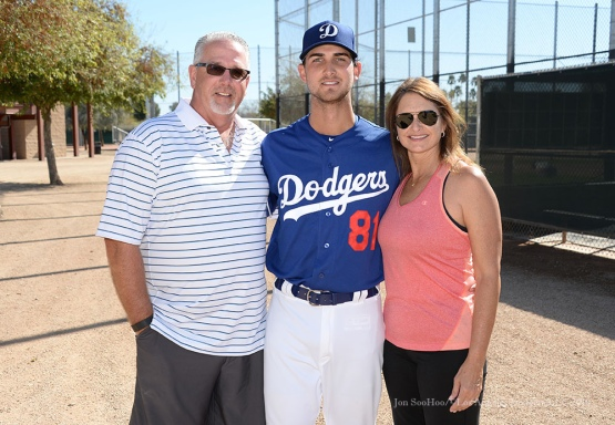 Los Angeles Dodgers Chase DeJong poses with family during pitchers and catchers workout Sunday, February 21, 2016 at Camelback Ranch-Glendale in Phoenix, Arizona. Photo by Jon SooHoo/©Los Angeles Dodgers,LLC 2016