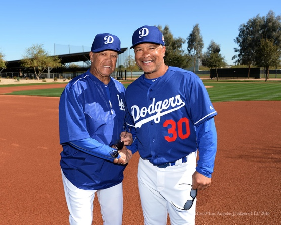 Los Angeles Dodgers Maury Wills and Dave Roberts pose during pitchers and catchers workout Sunday, February 21, 2016 at Camelback Ranch-Glendale in Phoenix, Arizona. Photo by Jon SooHoo/©Los Angeles Dodgers,LLC 2016