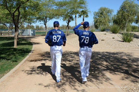 Los Angeles Dodgers Jose De Leon and Julio Urias walk to fields during pitchers and catchers workout Sunday, February 21, 2016 at Camelback Ranch-Glendale in Phoenix, Arizona. Photo by Jon SooHoo/©Los Angeles Dodgers,LLC 2016