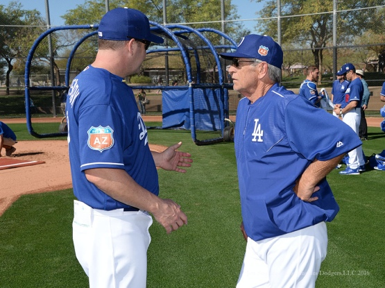 Oklahoma City Dodgers Manager Bill Haselman speaks and Los Angeles Dodgers Catching Coach Steve Yeager during pitchers and catchers workout Sunday, February 21, 2016 at Camelback Ranch-Glendale in Phoenix, Arizona. Photo by Jon SooHoo/©Los Angeles Dodgers,LLC 2016