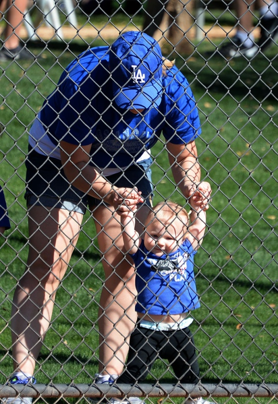 Young Los Angeles Dodgers stands during pitchers and catchers workout Sunday, February 21, 2016 at Camelback Ranch-Glendale in Phoenix, Arizona. Photo by Jon SooHoo/©Los Angeles Dodgers,LLC 2016