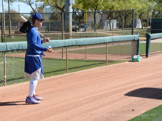 Los Angeles Dodgers Joc Pederson during workout Sunday, February 21, 2016 at Camelback Ranch-Glendale in Phoenix, Arizona. Photo by Jon SooHoo/©Los Angeles Dodgers,LLC 2016