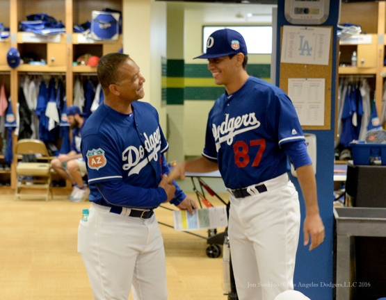 Los Angeles Dodgers Manager Dave Roberts and Jose De Leon in the team meeting prior to pitchers and catchers workout Monday, February 22, 2016 at Camelback Ranch-Glendale in Phoenix, Arizona. Photo by Jon SooHoo/©Los Angeles Dodgers,LLC 2016