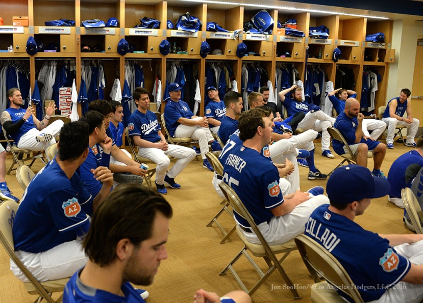 Los Angeles Dodgers Yasmani Grandal (L) with the question of the day prior to pitchers and catchers workout Monday, February 22, 2016 at Camelback Ranch-Glendale in Phoenix, Arizona. Photo by Jon SooHoo/©Los Angeles Dodgers,LLC 2016