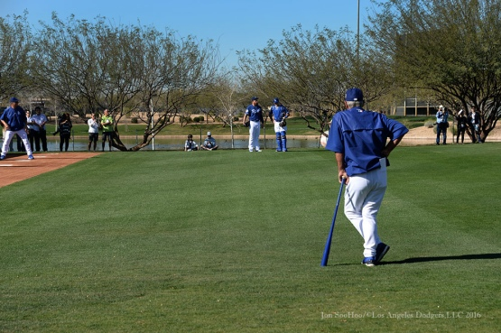 Los Angeles Dodgers Steve Yeager watchers pitchers and catchers Monday, February 22, 2016 at Camelback Ranch-Glendale in Phoenix, Arizona. Photo by Jon SooHoo/©Los Angeles Dodgers,LLC 2016
