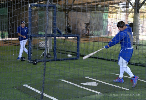 Los Angeles Dodgers Joc Pederson works out with Turner Ward during pitchers and catchers workout Monday, February 22, 2016 at Camelback Ranch-Glendale in Phoenix, Arizona. Photo by Jon SooHoo/©Los Angeles Dodgers,LLC 2016