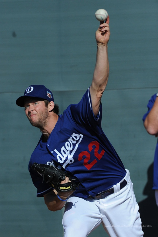 Los Angeles Dodgers Clayton Kershaw pitches during pitchers and catchers workout Monday, February 22, 2016 at Camelback Ranch-Glendale in Phoenix, Arizona. Photo by Jon SooHoo/©Los Angeles Dodgers,LLC 2016