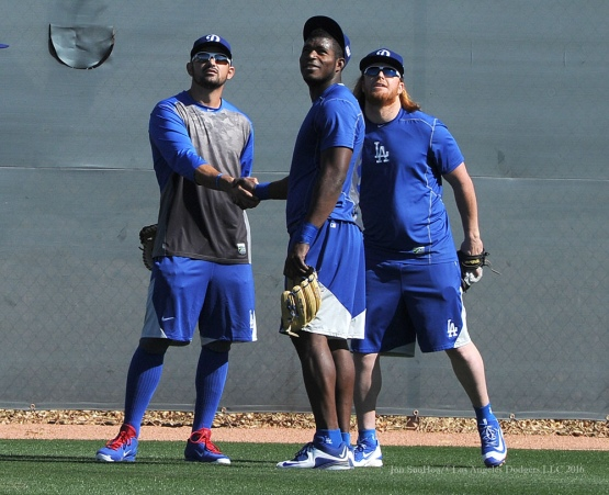 Los Angeles Dodgers Adrian Gonzalez, Yasiel Puig and Justin Turner during workout Monday, February 22, 2016 at Camelback Ranch-Glendale in Phoenix, Arizona. Photo by Jon SooHoo/©Los Angeles Dodgers,LLC 2016