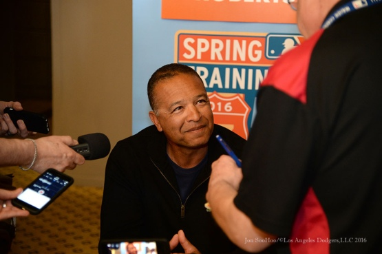 Dodgers Manager Dave Roberts at MLB Media Day Monday, February 22, 2016 at the Biltmore Resort in Phoenix,Arizona. Photo by Jon SooHoo/©Los Angeles Dodgers,LLC 2016