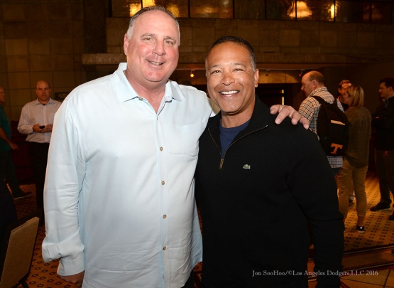 Dodgers Manager Dave Roberts with Angels Mike Scioscia pose at MLB Media Day Monday, February 22, 2016 at the Biltmore Resort in Phoenix,Arizona. Photo by Jon SooHoo/©Los Angeles Dodgers,LLC 2016