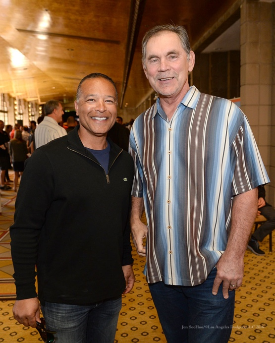 Dodgers Manager Dave Roberts with Giants Manager Bruce Bochy pose at MLB Media Day Monday, February 22, 2016 at the Biltmore Resort in Phoenix,Arizona. Photo by Jon SooHoo/©Los Angeles Dodgers,LLC 2016