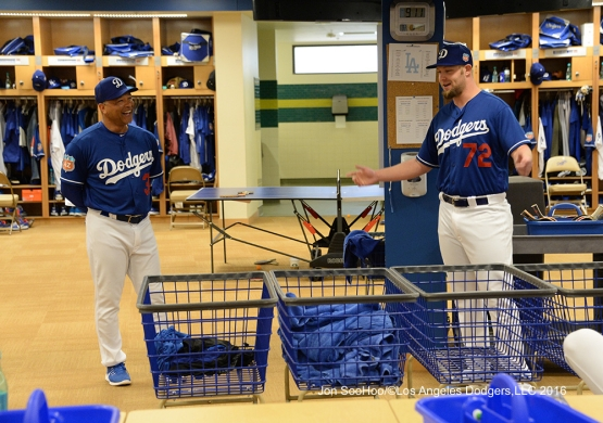 Los Angeles Dodgers Dave Roberts introduces Chris Anderson prior to workout Tuesday, February 23, 2016 at Camelback Ranch-Glendale in Phoenix, Arizona. Photo by Jon SooHoo/©Los Angeles Dodgers,LLC 2016
