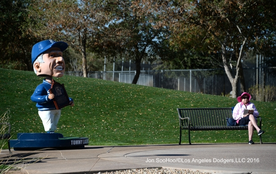 Tommy Lasorda bobblehead and one fan relax during workout Tuesday, February 23, 2016 at Camelback Ranch-Glendale in Phoenix, Arizona. Photo by Jon SooHoo/©Los Angeles Dodgers,LLC 2016
