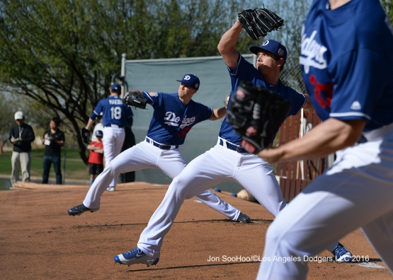 Los Angeles Dodgers Kenta Maeda, Alex Wood and Scott Kazmir pitch  Tuesday, February 23, 2016 at Camelback Ranch-Glendale in Phoenix, Arizona. Photo by Jon SooHoo/©Los Angeles Dodgers,LLC 2016