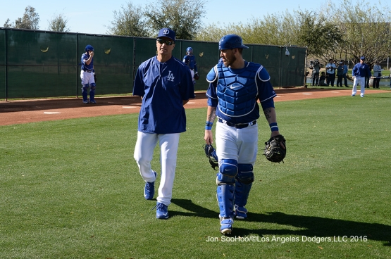 Los Angeles Dodgers coach Bob Geren and Yasmani Grandal talk during workout Tuesday, February 23, 2016 at Camelback Ranch-Glendale in Phoenix, Arizona. Photo by Jon SooHoo/©Los Angeles Dodgers,LLC 2016