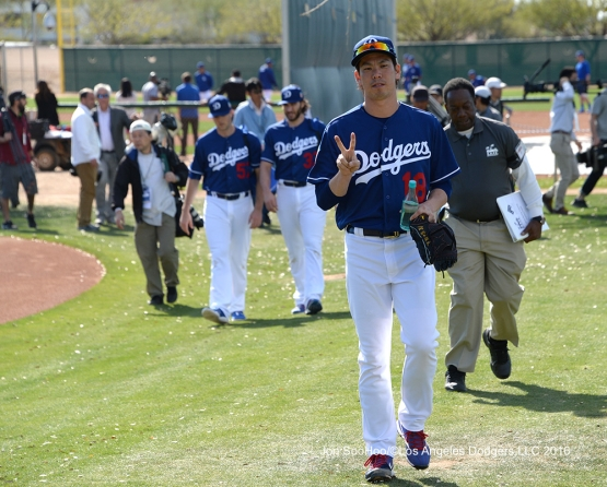 Los Angeles Dodgers Kenta Maeda's peace sign during workout Tuesday, February 23, 2016 at Camelback Ranch-Glendale in Phoenix, Arizona. Photo by Jon SooHoo/©Los Angeles Dodgers,LLC 2016