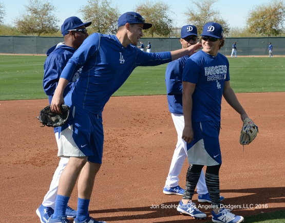 Los Angeles Dodgers Corey Seager and Kike Hernandez during workout Tuesday, February 23, 2016 at Camelback Ranch-Glendale in Phoenix, Arizona. Photo by Jon SooHoo/©Los Angeles Dodgers,LLC 2016