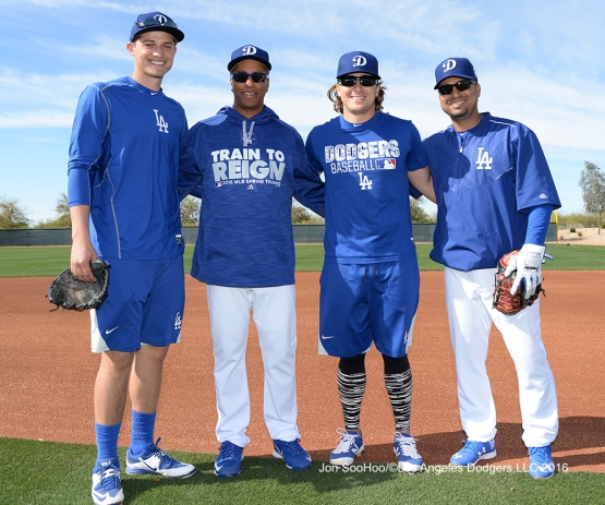 Los Angeles Dodgers Corey Seager, Jose Vizcaino, Kike Hernandez and Juan Castro pose during workout Tuesday, February 23, 2016 at Camelback Ranch-Glendale in Phoenix, Arizona. Photo by Jon SooHoo/©Los Angeles Dodgers,LLC 2016