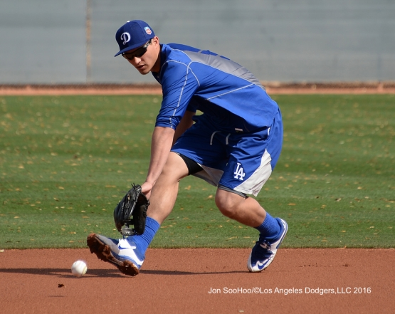 Los Angeles Dodgers Corey Seager takes grounders during workout Tuesday, February 23, 2016 at Camelback Ranch-Glendale in Phoenix, Arizona. Photo by Jon SooHoo/©Los Angeles Dodgers,LLC 2016