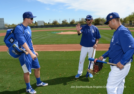 Los Angeles Dodgers Chris Woodward  talks with Corey Seager and Juan Castro during workout Tuesday, February 23, 2016 at Camelback Ranch-Glendale in Phoenix, Arizona. Photo by Jon SooHoo/©Los Angeles Dodgers,LLC 2016