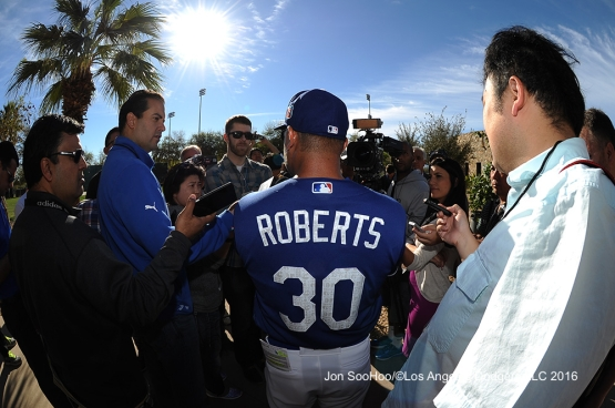 Los Angeles Dodgers Dave Roberts speaks to the media during workout Tuesday, February 23, 2016 at Camelback Ranch-Glendale in Phoenix, Arizona. Photo by Jon SooHoo/©Los Angeles Dodgers,LLC 2016