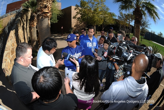 Los Angeles Dodgers Dave Roberts speaks to the media Tuesday, February 23, 2016 at Camelback Ranch-Glendale in Phoenix, Arizona. Photo by Jon SooHoo/©Los Angeles Dodgers,LLC 2016