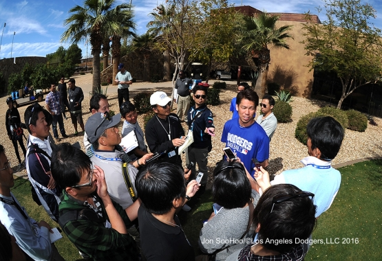 Los Angeles Dodgers Kenta Maeda speaks to the media during workout Tuesday, February 23, 2016 at Camelback Ranch-Glendale in Phoenix, Arizona. Photo by Jon SooHoo/©Los Angeles Dodgers,LLC 2016