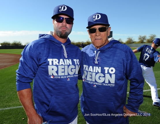 Los Angeles Dodgers Eric Gagne and Steve Yeager pose during workout Wednesday, February 24,2016 at Camelback Ranch-Glendale in Phoenix, Arizona.