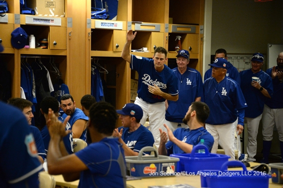 Los Angeles Dodgers Jamey Wright is introduced to the team prior to workout Wednesday, February 24,2016 at Camelback Ranch-Glendale in Phoenix, Arizona.