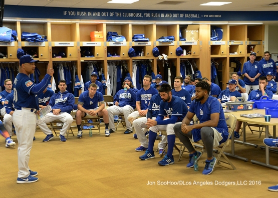 Los Angeles Dodgers Dave Roberts speaks to the team prior to the workout Wednesday, February 24,2016 at Camelback Ranch-Glendale in Phoenix, Arizona.