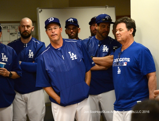Los Angeles Dodgers Greg Maddux speaks to the team prior to workout Wednesday, February 24,2016 at Camelback Ranch-Glendale in Phoenix, Arizona.