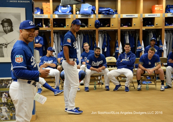 Los Angeles Dodgers Chase De Jong speaks to the team prior to workout Wednesday, February 24,2016 at Camelback Ranch-Glendale in Phoenix, Arizona.
