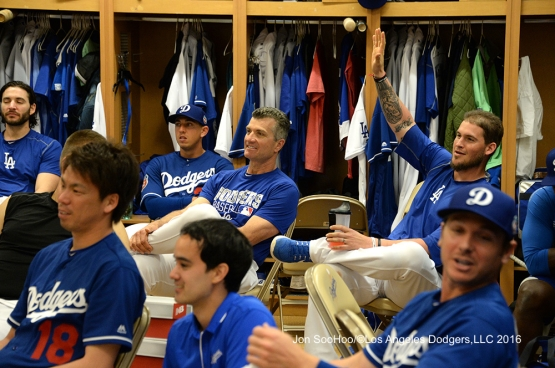 Los Angeles Dodgers Yasmani Grandal asks his question of the day prior to workout Wednesday, February 24,2016 at Camelback Ranch-Glendale in Phoenix, Arizona.
