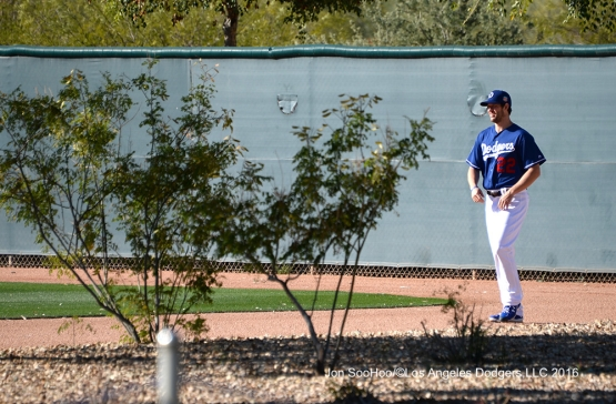 Los Angeles Dodgers Clayton Kershaw during workout Wednesday, February 24,2016 at Camelback Ranch-Glendale in Phoenix, Arizona.