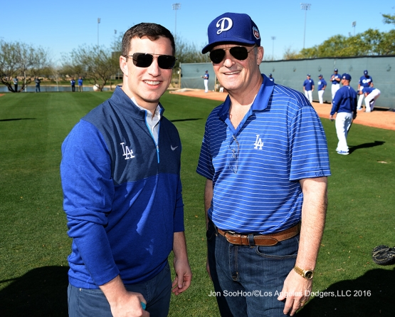 Los Angeles Dodgers Andrew Friedman and Stan Kasten pose during workout Wednesday, February 24,2016 at Camelback Ranch-Glendale in Phoenix, Arizona.