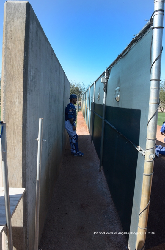 Los Angeles Dodgers Yasmani Grandal watches pitchers from the behind the fence during workout Wednesday, February 24,2016 at Camelback Ranch-Glendale in Phoenix, Arizona.