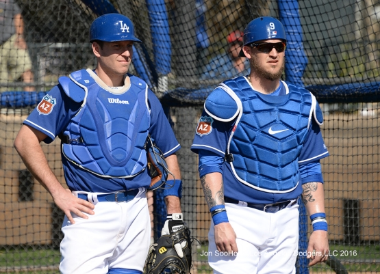 Los Angeles Dodgers A.J. Ellis ad Yasmani Grandal during workout Wednesday, February 24,2016 at Camelback Ranch-Glendale in Phoenix, Arizona.
