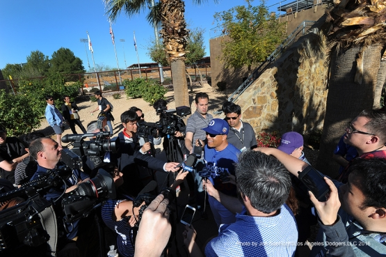 Los Angeles Dodgers Dave Roberts speaks to the media during workout Friday, February 26, 2016 at Camelback Ranch-Glendale in Phoenix, Arizona.