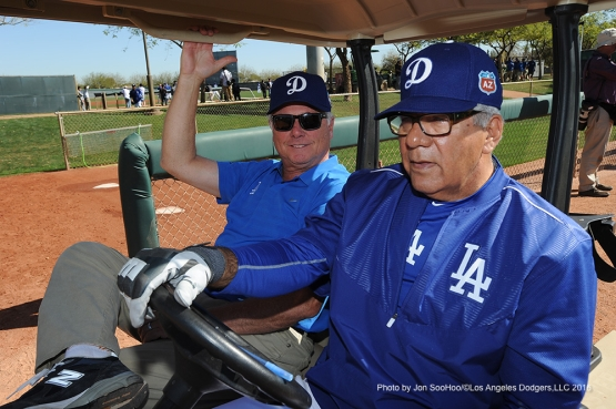 Los Angeles Dodgers Jerry Hunsicker and Pat Corrales Friday, February 26, 2016 at Camelback Ranch-Glendale in Phoenix, Arizona.